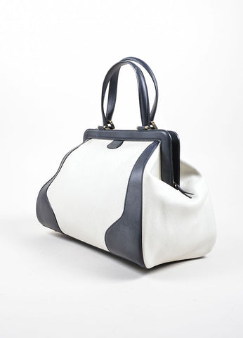Valextra Midnight Navy Leather and Cream Canvas Doctor Handbag Sideview
