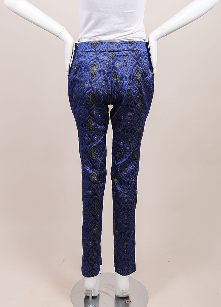 Wes Gordon New With Tags Blue and Yellow Lapis Topkaki Brocade Skinny Pants Backview