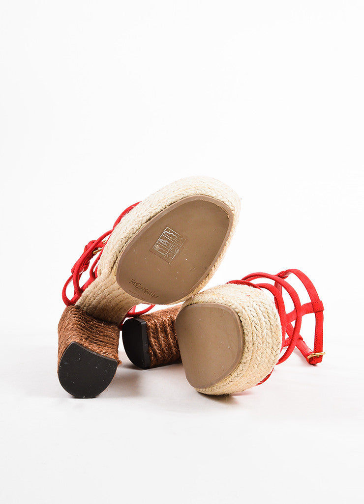 "Yves Saint Laurent Red and Brown Suede ""Gipsy"" Espadrille Platform Sandals Outsoles"