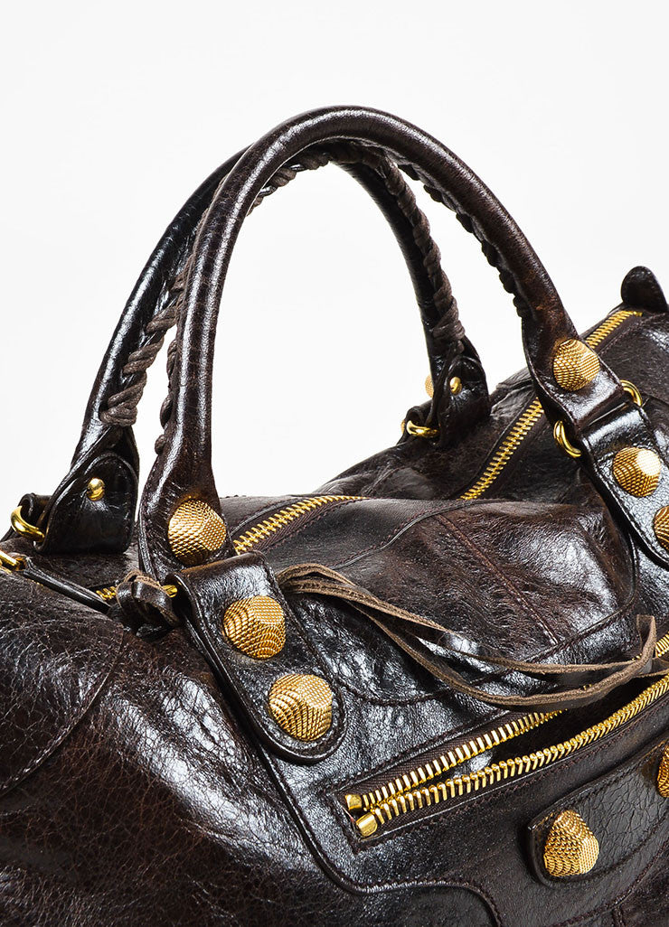 "Balenciaga Dark Brown Leather Distressed GHW ""Giant 21 Work"" Bag Detail 2"