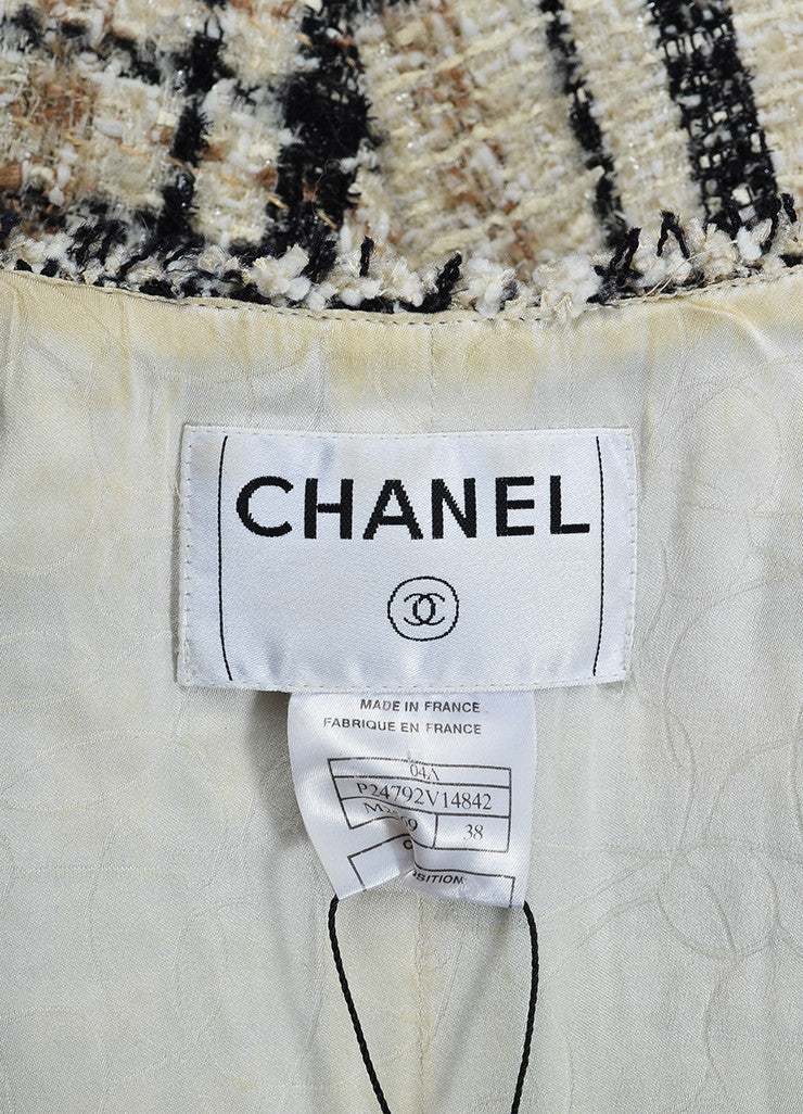 Cream and Black Chanel Plaid Tweed Frayed Zip Up Scarf and Jacket Set Brand
