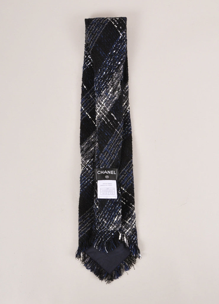 Chanel Black, Navy, and Grey Boucle Tweed Oversized Necktie Backview