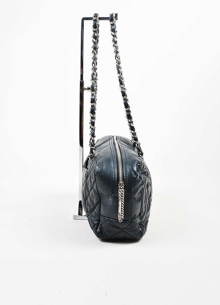 Black and Silver Toned Chanel Leather Quilted Shoulder Bag Sideview