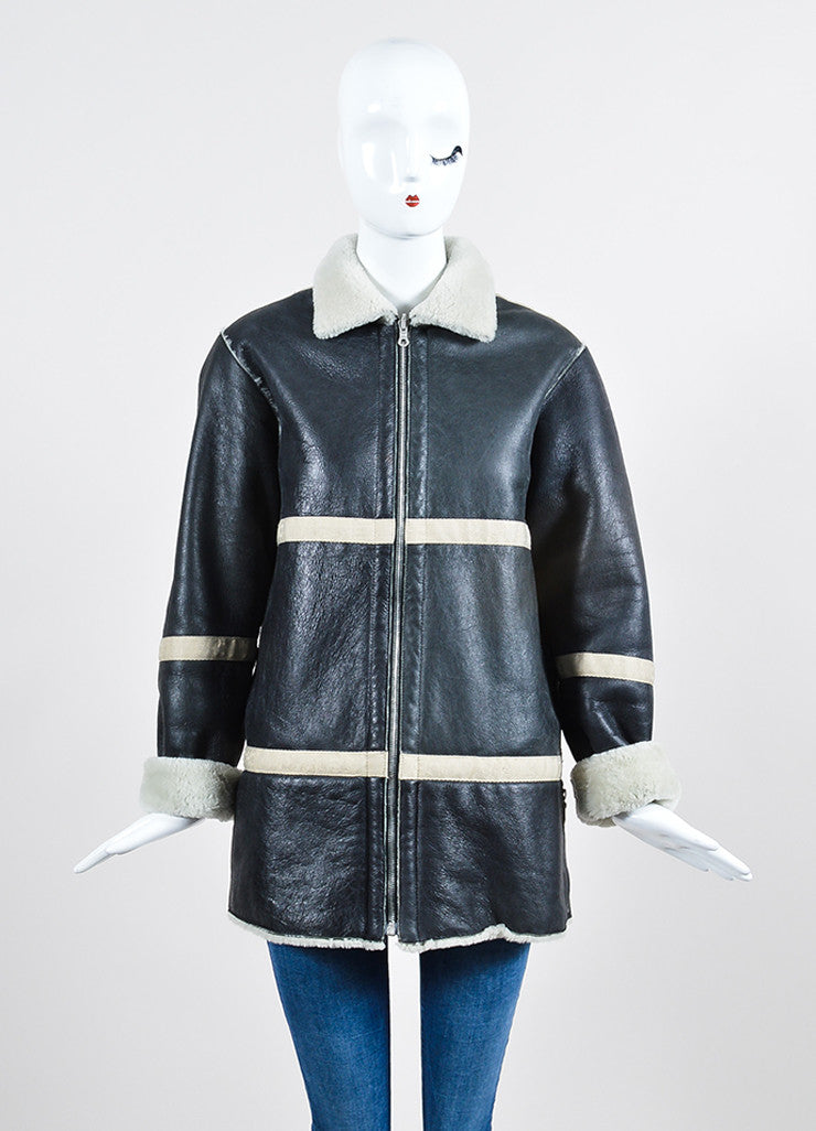 Black Leather and Cream Shearling Reversible Chanel Zip Up Coat  Frontview 2