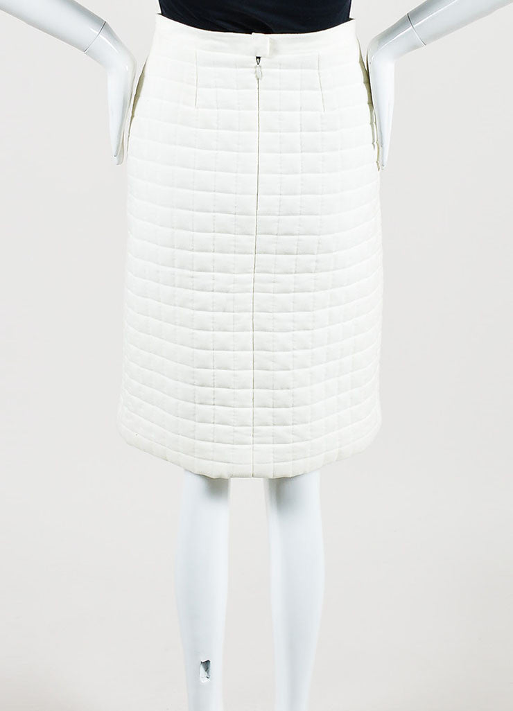"White Chanel Cotton Blend Quilted A Line ""00T"" Pencil Skirt Backview"