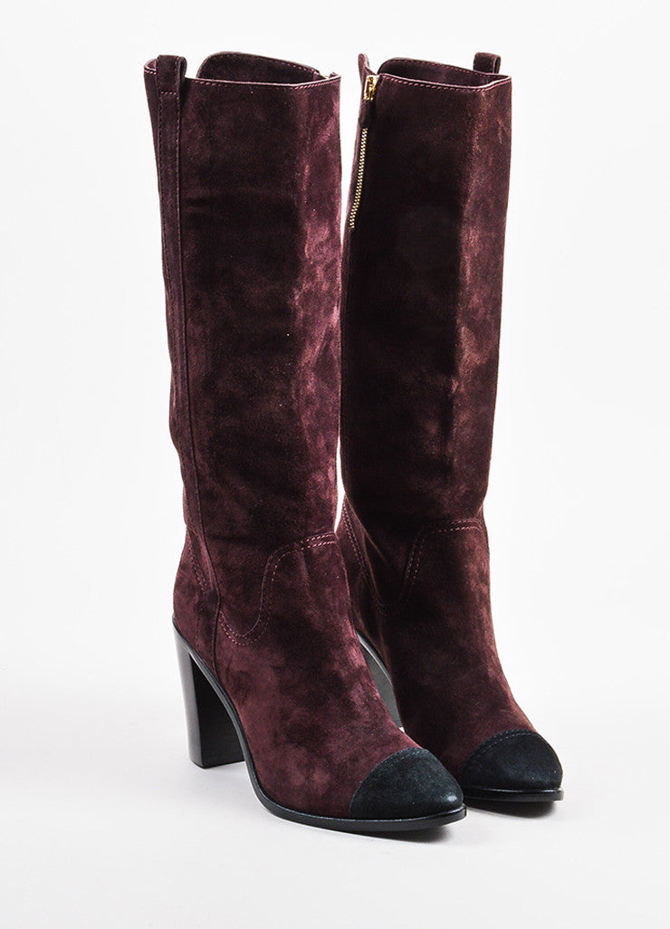 Chanel Purple and Black Suede Leather Cap Toe Block Heel Knee High Boots Frontview