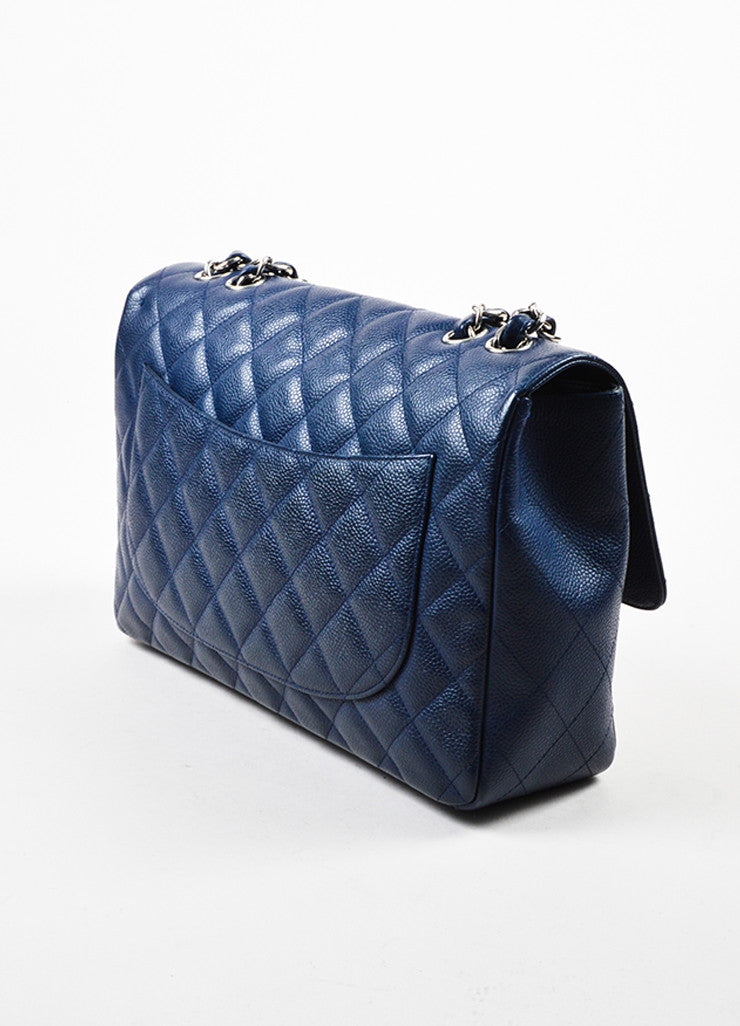 "Navy Chanel Caviar Leather Quilted Jumbo ""Classic Flap"" Shoulder Bag Sideview"