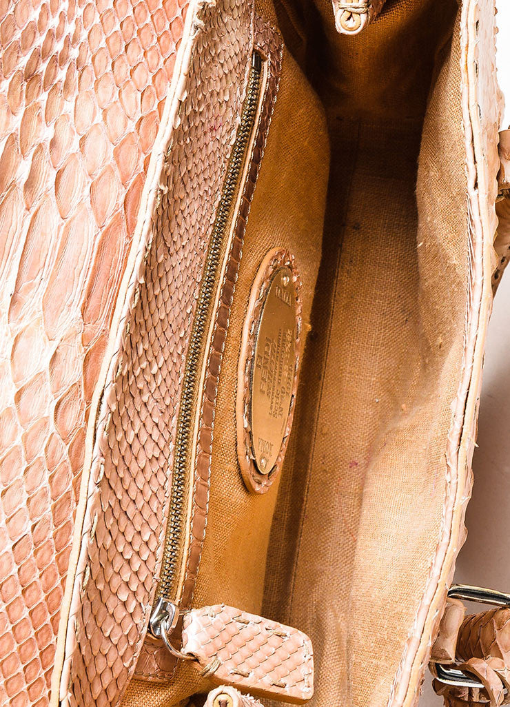 "Tan Fendi Python Snakeskin ""Selleria Linda"" Top Handle Small Handbag Interior"