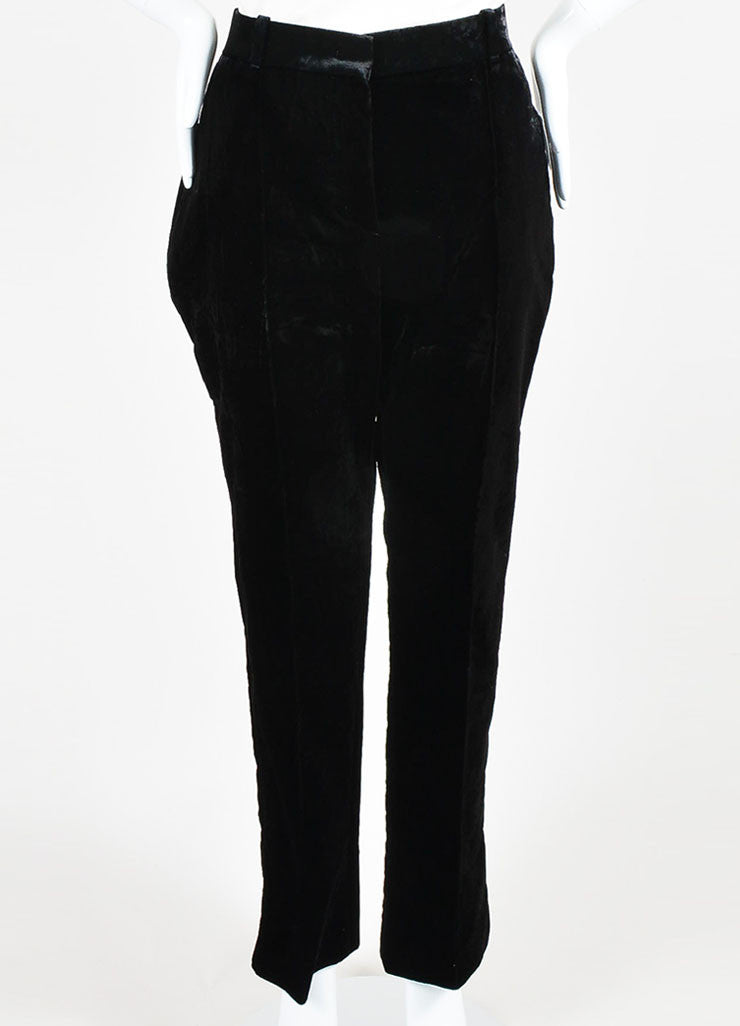 Black Velvet Givenchy High Waist Straight Leg Trousers Front