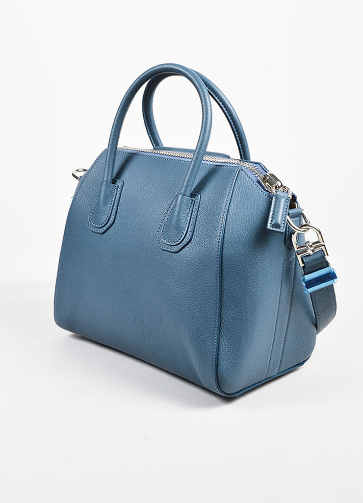 "Givenchy Blue Sugar Goatskin ""Small Antigona"" Satchel Bag Back"