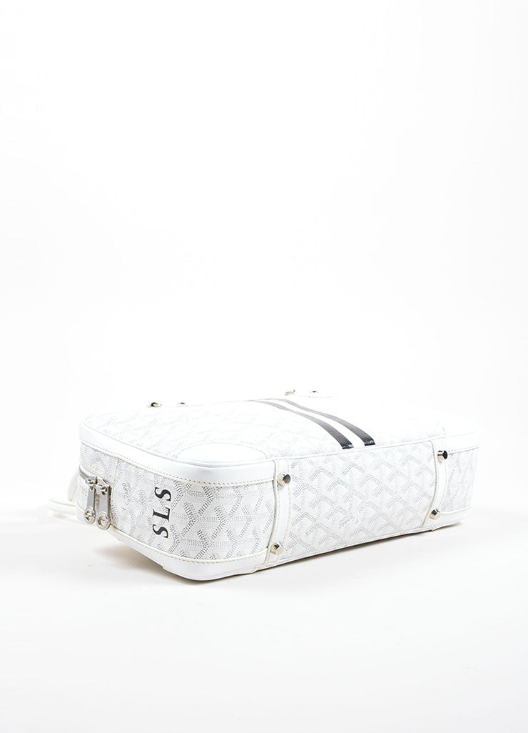 "Goyard White Coated Canvas Hand Painted Printed Monogram Stripe ""St. Martin"" Bag Bottom View"