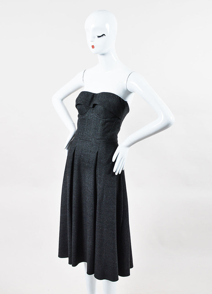 Gucci Grey Wool Structured Bustier Fit Flare Strapless Dress Side