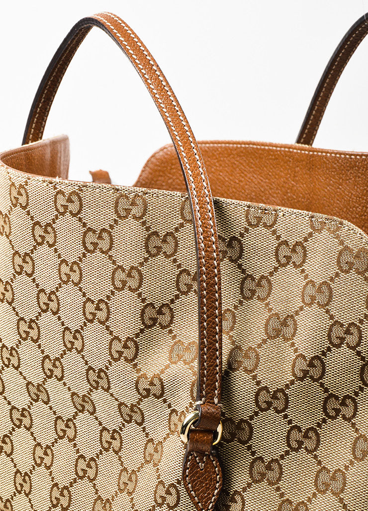 "Gucci Tan and Brown Canvas Leather Monogram ""Bree"" Carryall Shoulder Strap Tote Bag Detail 2"