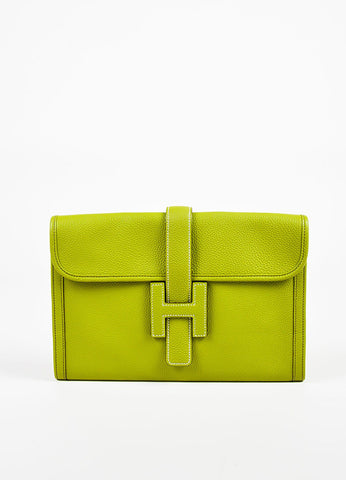 "Hermes Vert Anis Green Togo Leather ""Jige PM"" Flap Clutch Bag Frontview"