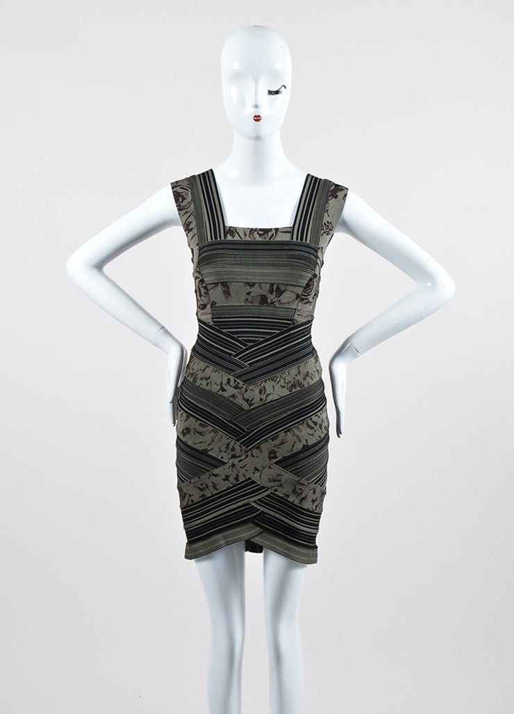 "Green and Black Herve Leger Printed Stripe Bandage ""Mallory"" Dress Frontview"