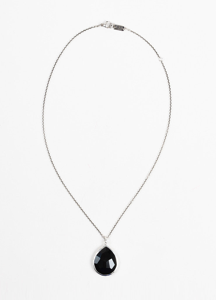 "Ippolita Sterling Silver and Black Onyx ""Rock Candy"" Teardrop Pendant Necklace Frontview"