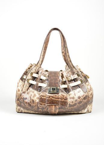 "Beige and Brown Jimmy Choo Snakeskin Leather Gathered ""Ramona"" Shoulder Bag Frontview"