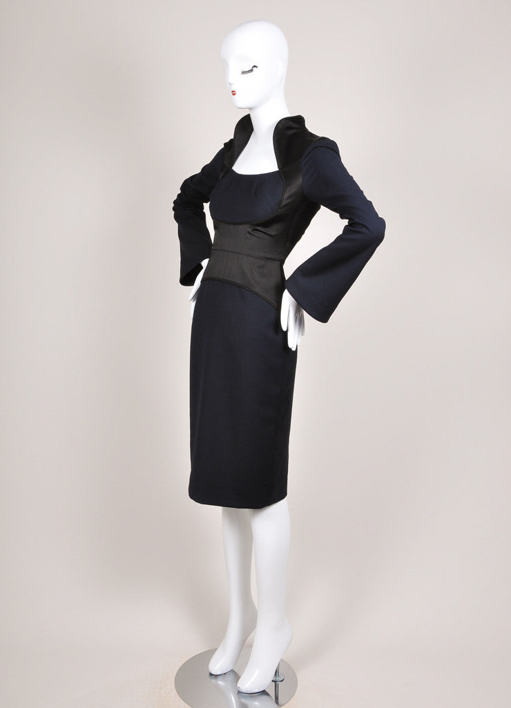 Karolina Zmarlak New With Tags Navy and Black Satin Trim Illusion Sheath Dress Sideview
