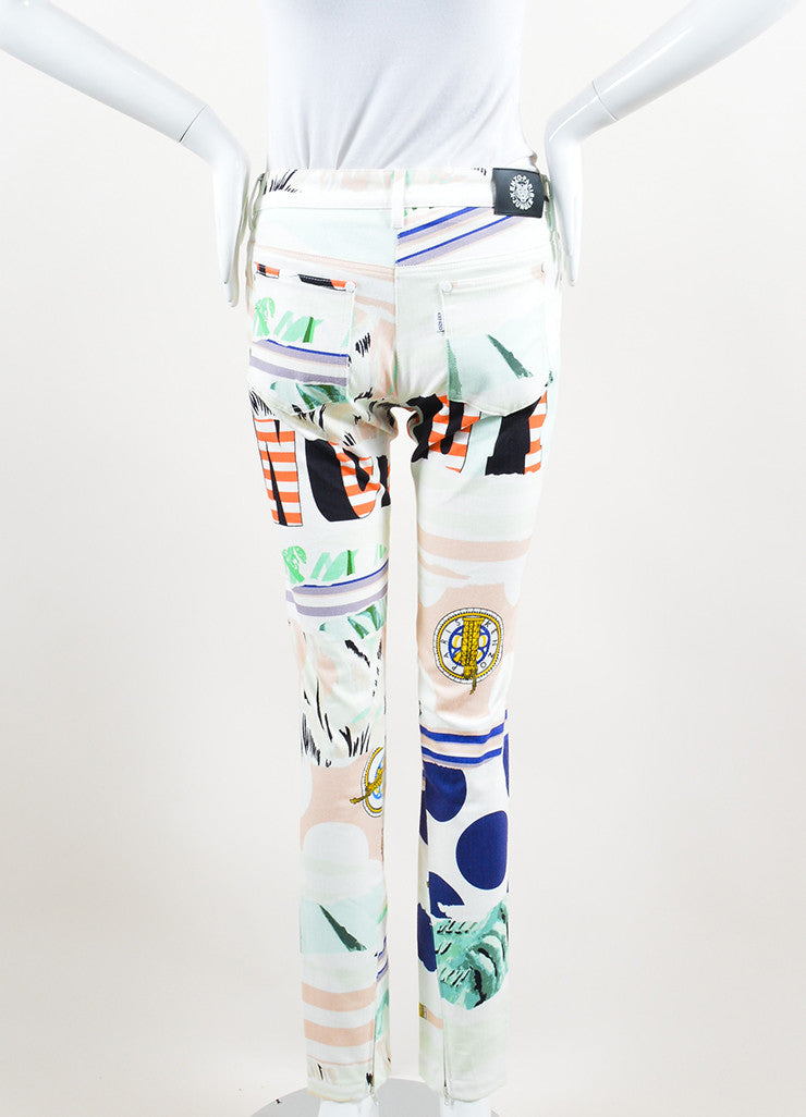 Kenzo Multicolor Torn Paper Print Ankle Zip Straight Leg Jeans Backview