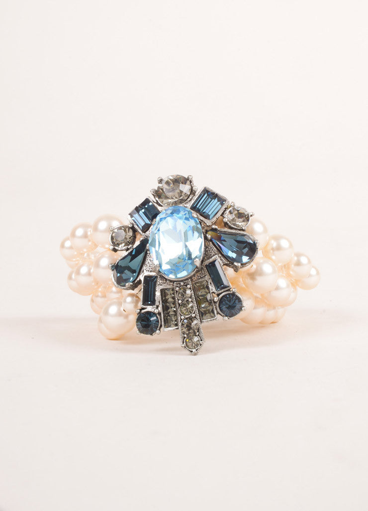 Lanvin Cream, Blue, Grey Rhinestone and Faux Pearl Embellished Multi Strand Bracelet Frontview