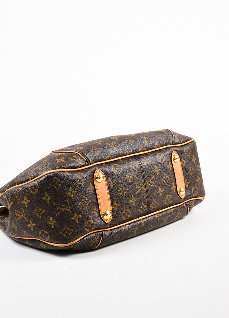 "Louis Vuitton Brown Monogram Coated Canvas ""Galliera PM"" Hobo Bag Bottom view"