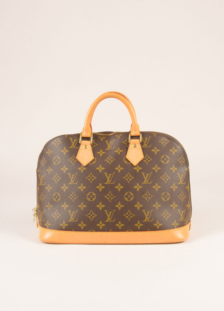Louis Vuitton Brown and Tan Coated Canvas Leather Monogram Alma PM Bag Frontview