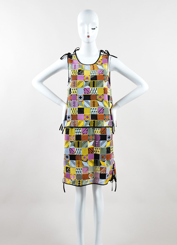 MSGM Multicolor Embroidered Patchwork Sleeveless Shift Dress Frontview