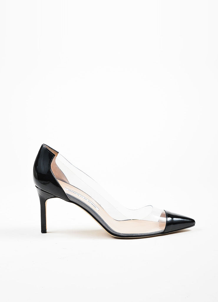 "Black Manolo Blahnik Patent Leather and PVC Pointed Cap Toe ""Pacha"" Pumps Sideview"