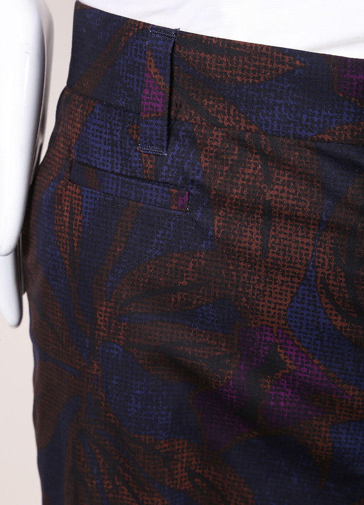 Marc Jacobs New With Tags Brown, Blue, and Purple Leaf Print Cotton Bermuda Shorts Detail