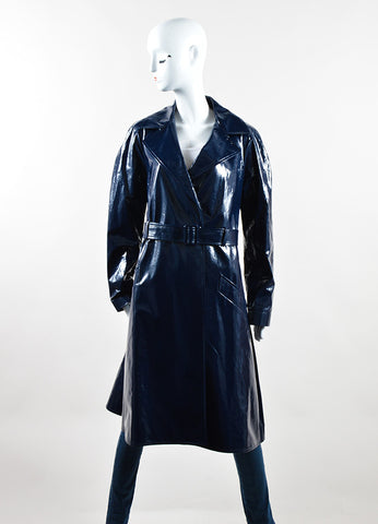 Martin Grant Navy Blue Patent Belted Trench Coat Frontview