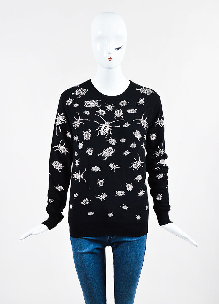 McQ by Alexander McQueen Black and Pink Intarsia Knit Bug Sweater Frontview