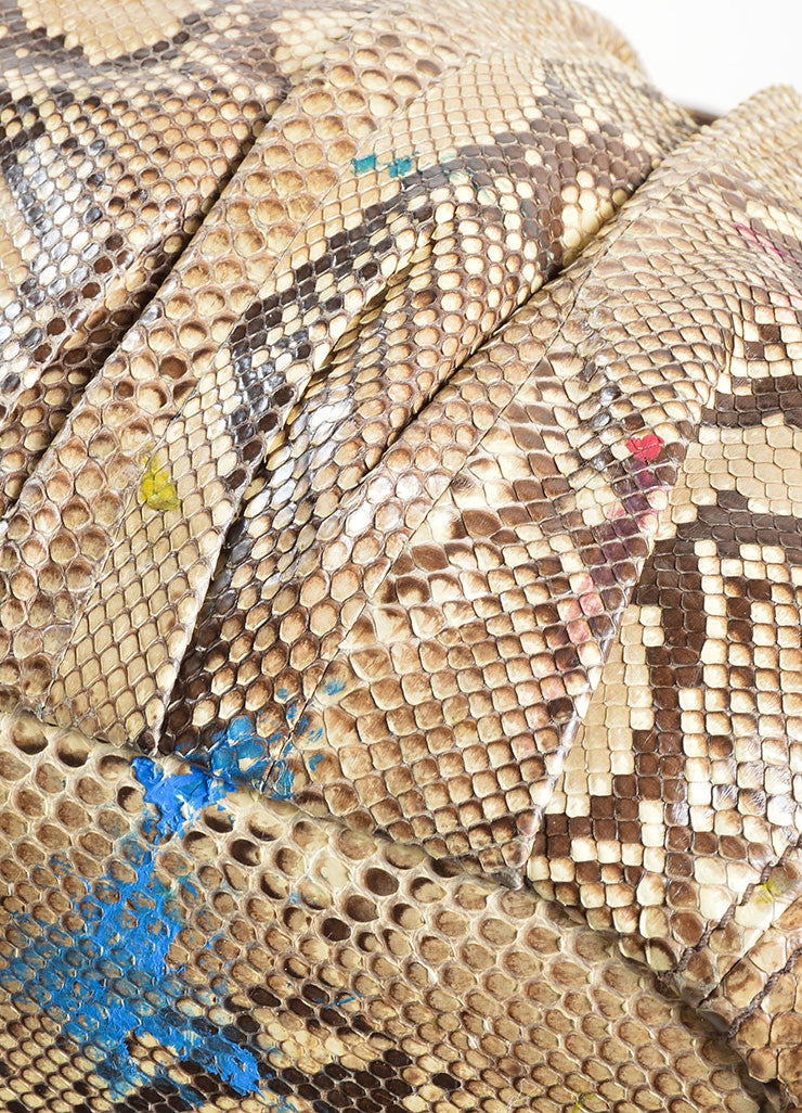 Miu Miu Brown and Beige Python Leather Hobo Bag Detail 3