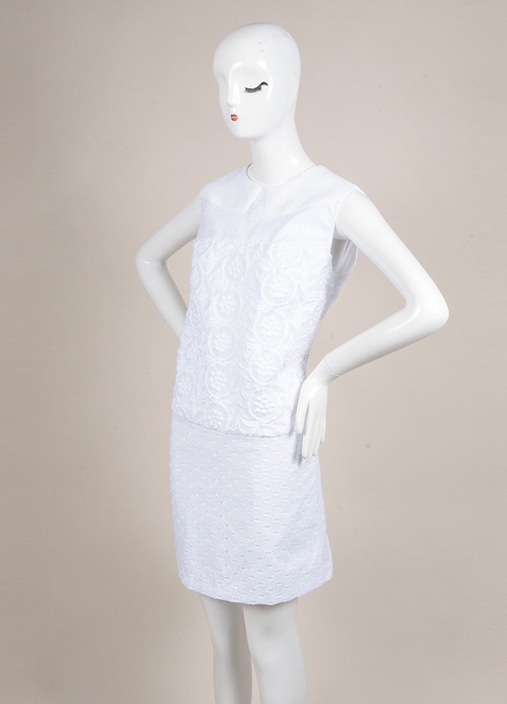 No. 21 New With Tags White Knit Eyelet Lace Trim Textured Sleeveless Dress Sideview
