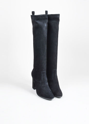 "Black Pierre Hardy Suede Knee High ""Ace"" Ribbed Glove Boots Frontview"