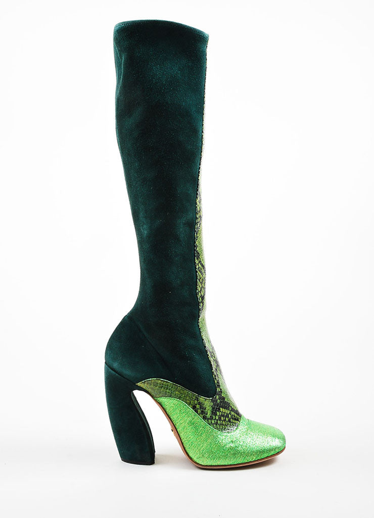 Green Prada Suede and Python Metallic Knee High Heeled Boots Sideview