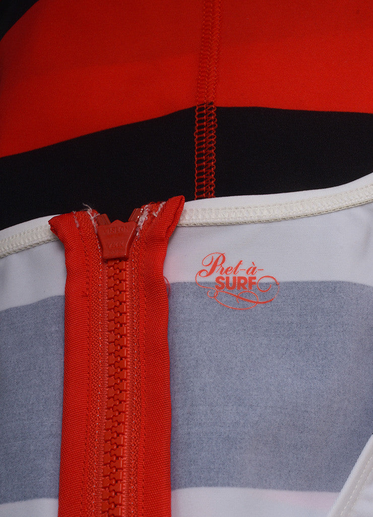Pret a Surf New With Tags Black, Red, and White Stripe Rashguard Swim Tank Top Brand