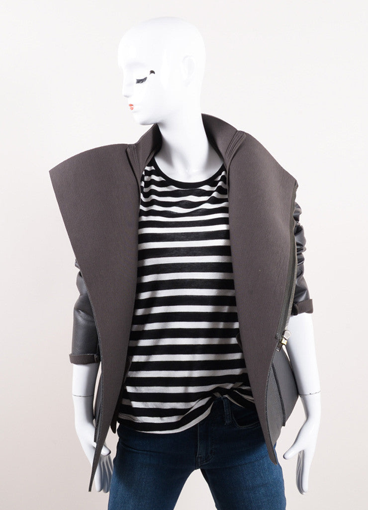 "Rick Owens New With Tags Grey Leather Neoprene Rib Trim ""Eileen"" Jacket Frontview"