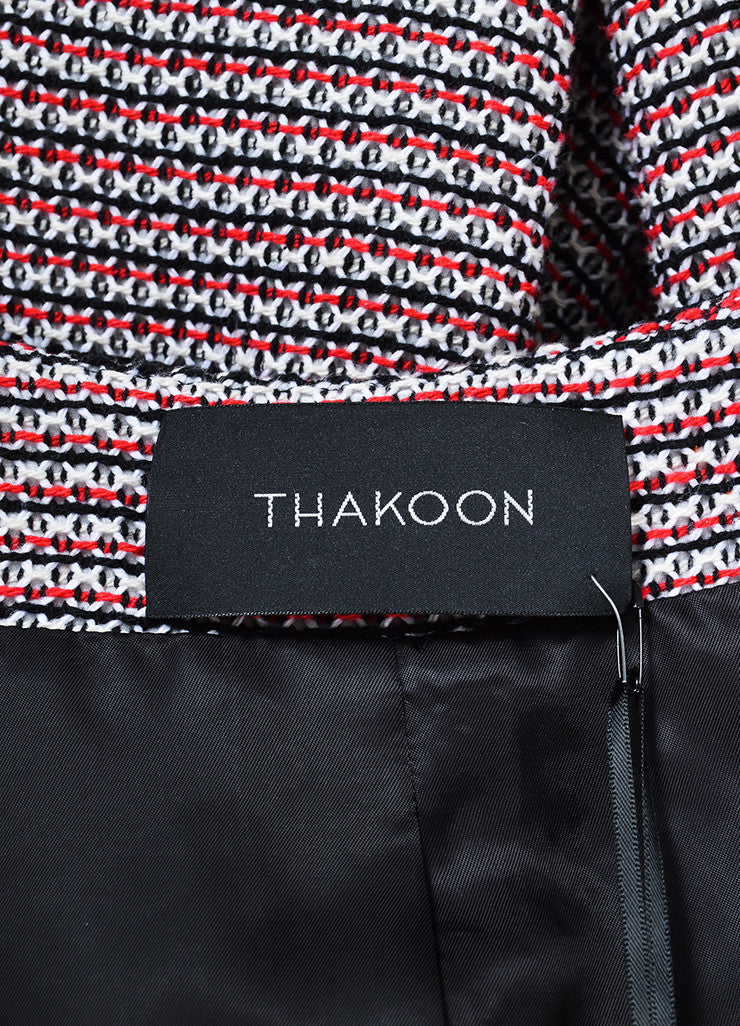 Red and White Thakoon Knit Beaded Collar Zip Tweed Jacket Brand