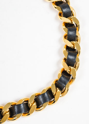 Gold Toned and Black Chanel Leather 'CC' Coin Charm Chain Belt Detail