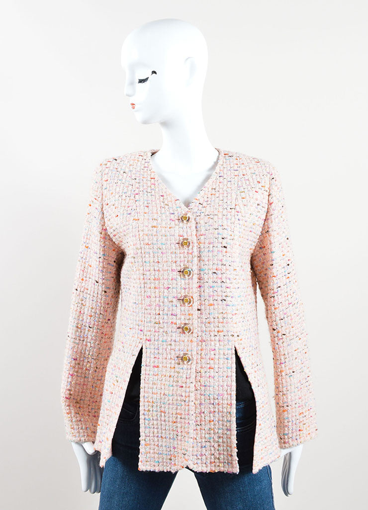 Chanel Pink and Multicolor Wool Blend Tweed Long Sleeve Jacket Frontview