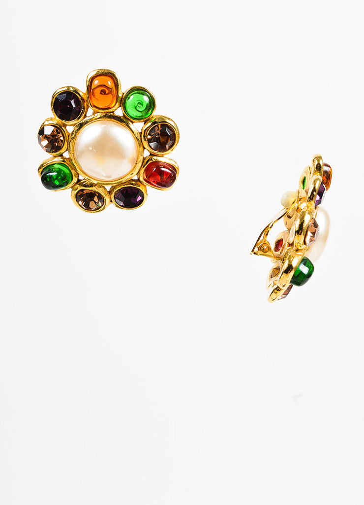 Chanel Gold Toned, Faux Pearl, and Multicolor Griproix Clip On Earrings Sideview
