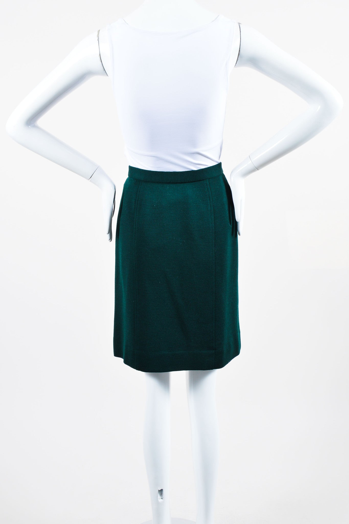 "Vintage Green Chanel Wool Sailor Gold ""CC"" Button Pencil Skirt  Back"
