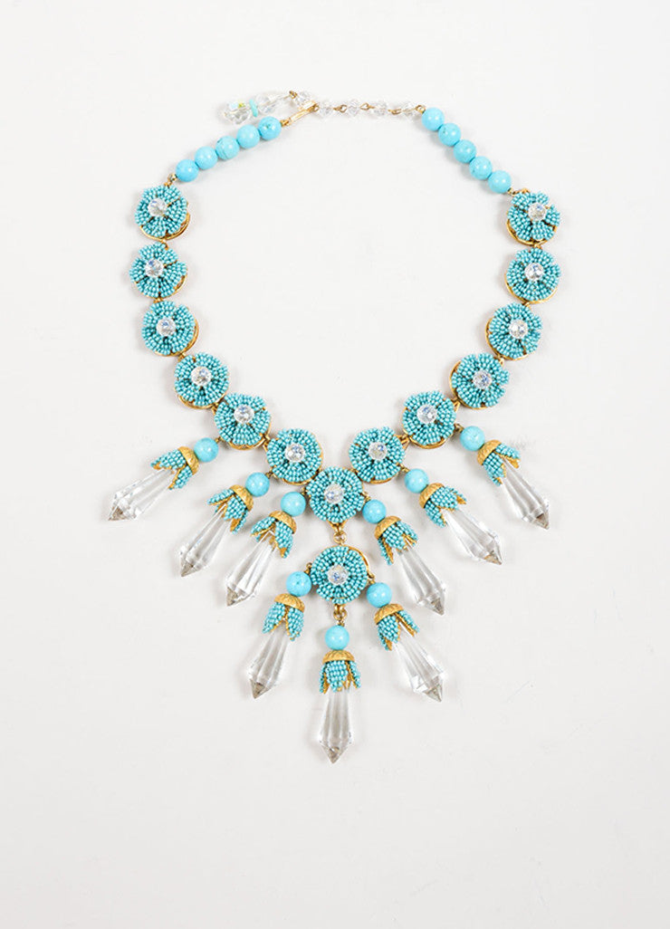 Stanley Hagler Turquoise Bead and Crystal Dagger Statement Necklace Frontview