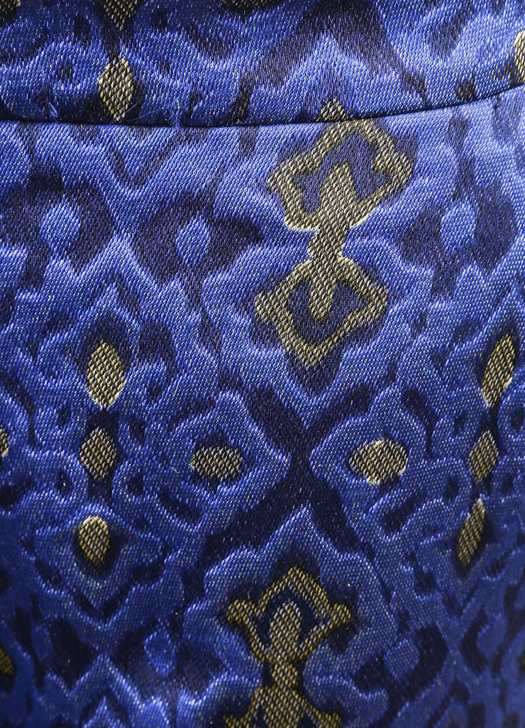 Wes Gordon New With Tags Blue and Yellow Lapis Topkaki Brocade Skinny Pants Detail