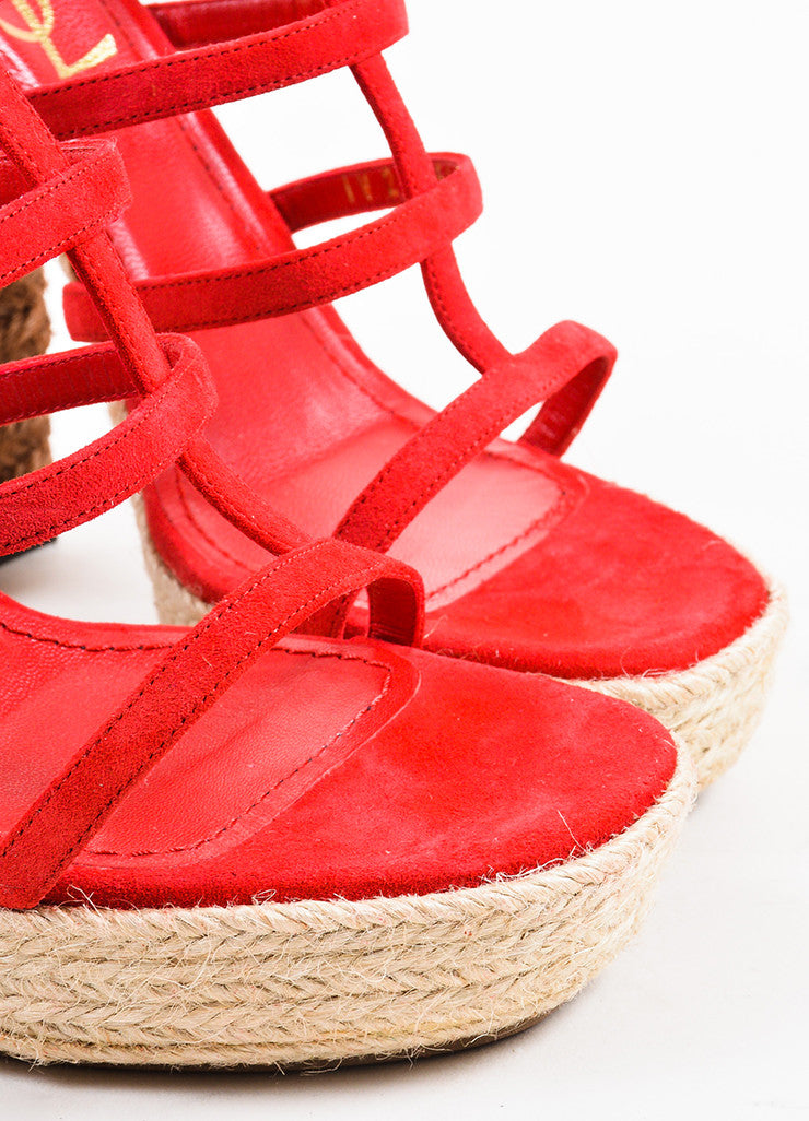 "Yves Saint Laurent Red and Brown Suede ""Gipsy"" Espadrille Platform Sandals Detail"