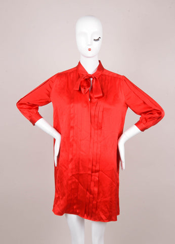 Red Shirt Dress With Tie Neckline