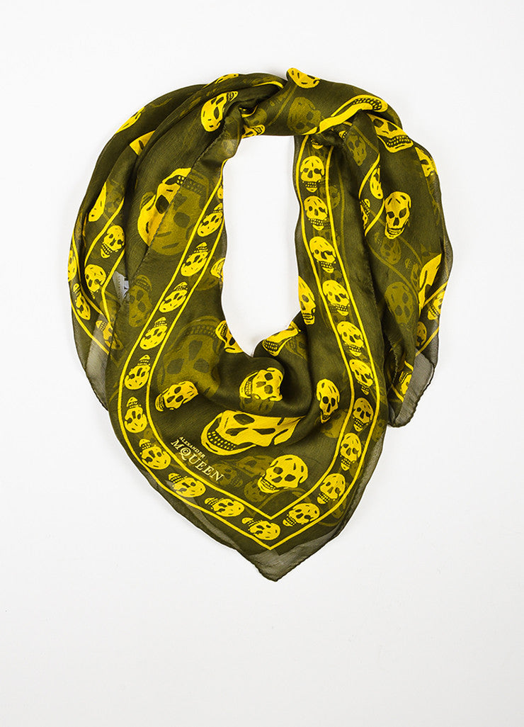 å´?ÌÜAlexander McQueen Olive Green and Yellow Skull Sheer Square Scarf Frontview