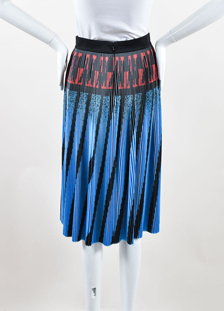 Alexander Wang Blue, Black, and Red Printed Micro Pleat Stretch A-Line Skirt Backview