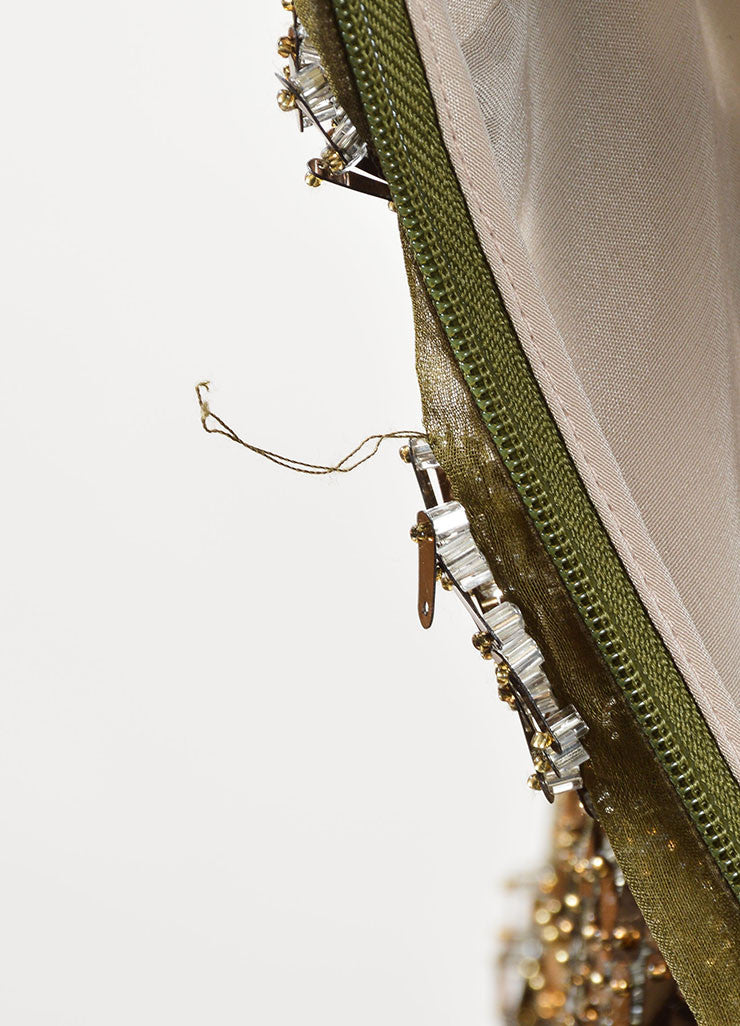 Bibhu Mohapatra Olive Copper Embellished Long Sleeve Gown Detail 4