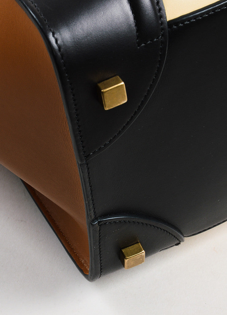 "Black Camel Nude Celine Leather Tricolor ""Mini Luggage"" Tote Bag Detail 2"